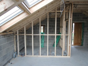 Home Office - Stud Walls for Shower Room plus Front Door & Windows Installed